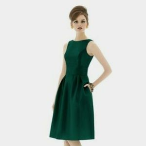Alfred Sung Open Back Emerald Cocktail Dress